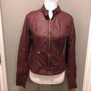 NWT Hollister Burgundy Faux Leather Moto Jacket